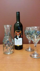 Wine Package: Hand painted wine glasses and carafe set from Gingergirl Painting, plus a bottle of local Moose Joose wine