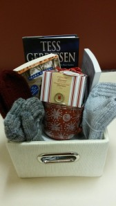 Cozy Winter Basket: 3 pairs of hand knit socks, a hot chocolate gift set, & 3 books
