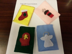 Felt gift card holders in over 30 designs from Jewel Cousens ($2 each)
