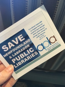 Save NL Public Libraries postcards addressed to the NL Minister of Education, Dale Kirby